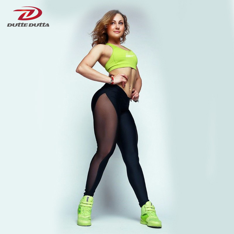 Women Fitness Gym Mesh Patchwork Push Up Pants Athletic