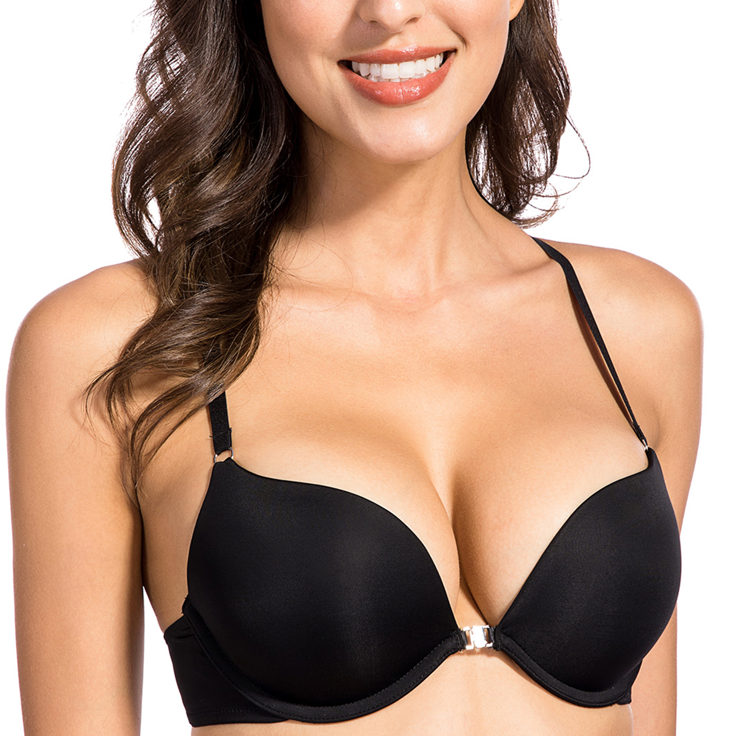 Women's Smooth Front Closure Underwire Push Up Plunge Everyday Bra Top