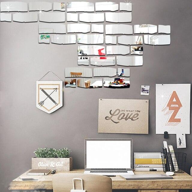 24 Pz/set FAI DA TE Decorazione Della Parete Muro Di Mattoni Sticker  Autoadesivo Specchio