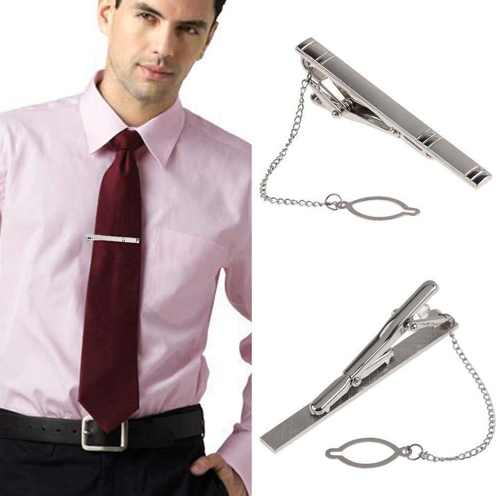 Multi Style Random Necktie Clip Gentleman Silver Metal Simple Necktie Tie Clip Pin Bar Clasp Practical Plain Popular Gifts