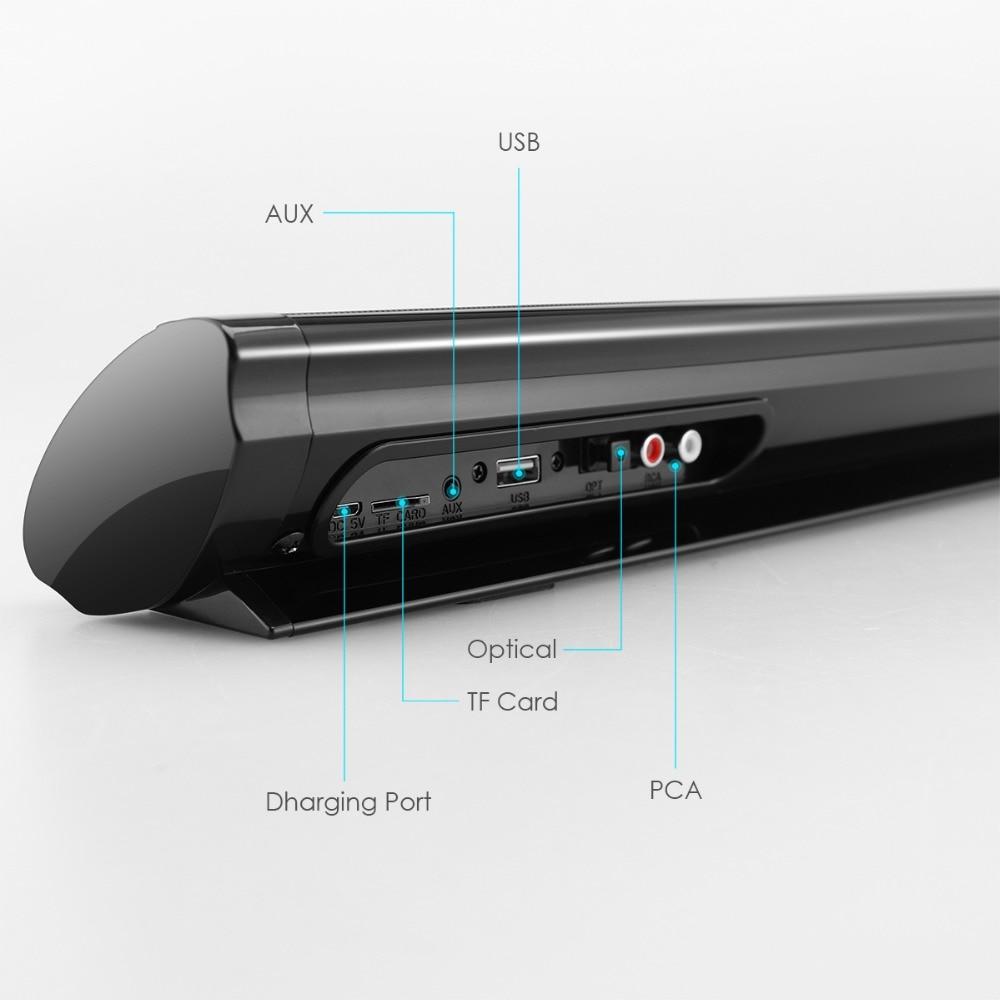 Bluetooth 5,0 FM Soundbar Drahtlose Lautsprecher 20W Heimkino Spalte Surround Sound System Stereo Wand-Montiert Lautsprecher