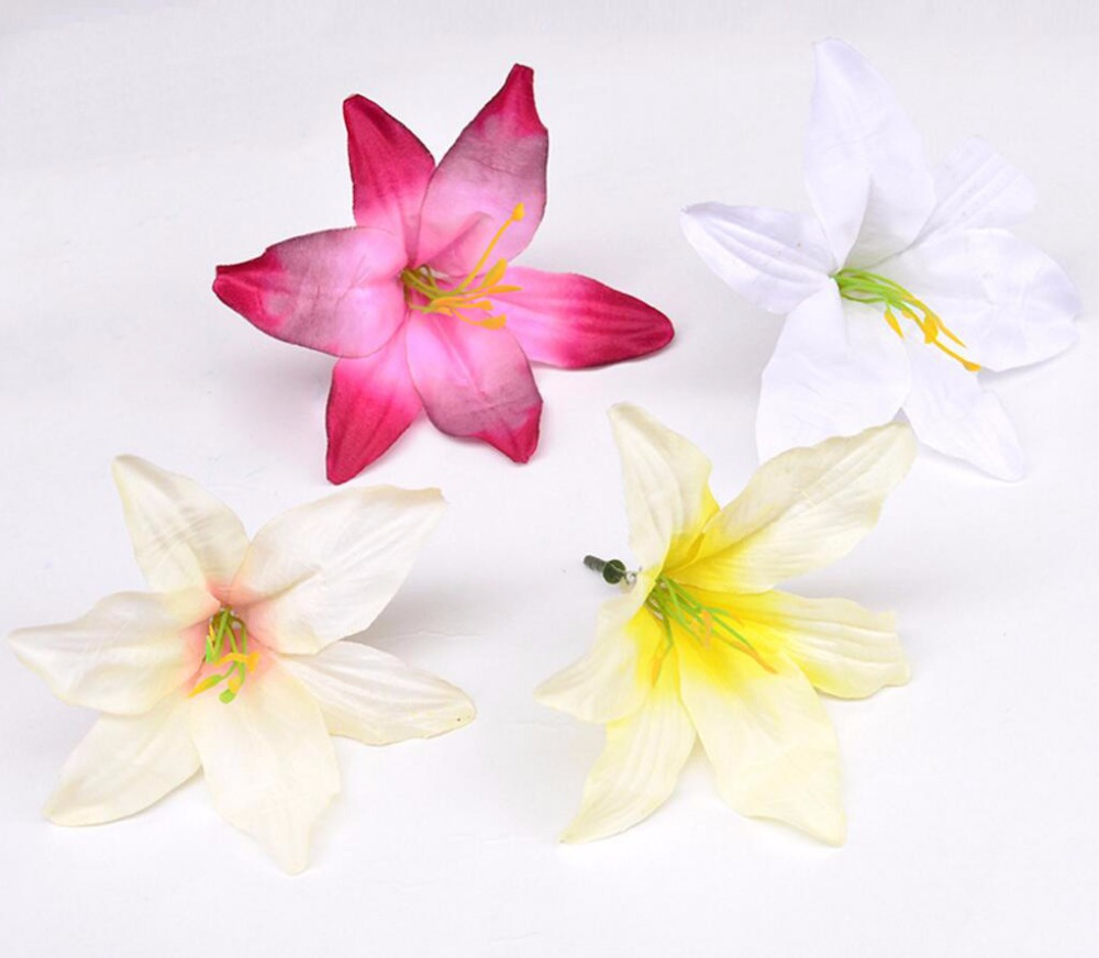 100pcslot 14cm Silk Lily Flower Head With Stamen Pistil For Wedding