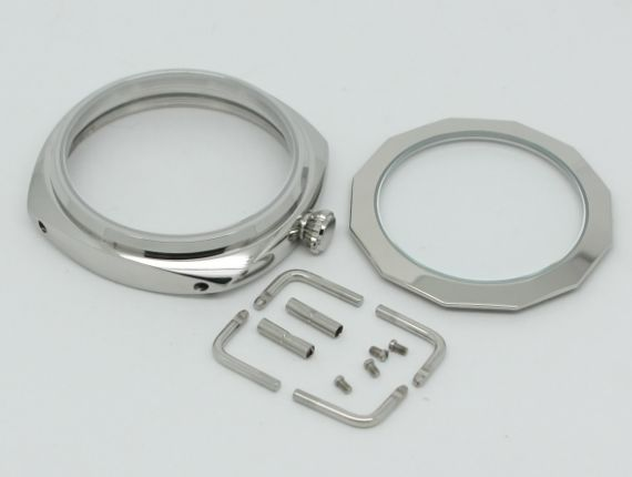 45mm Polished Stainless Case Fit SeaGull 6497 6498 Movement