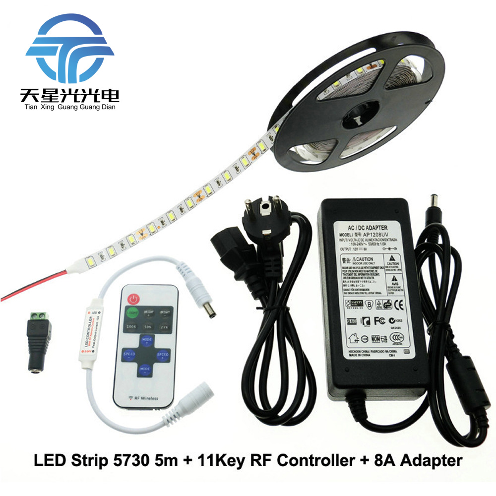 TXG LED Strip 5730 5m + RF 11Key Controller + DC12V 8A Adapter Flexible LED Light Sets. miolla txg 871