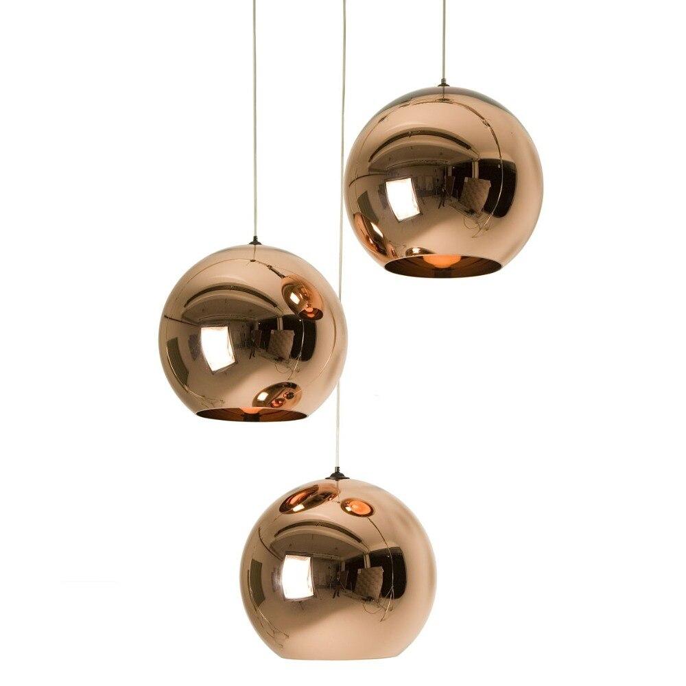 Modern Copper/Sliver/Gold Lamp Shade Glass Ball Mirror Pendant Lamp E27 Bulb LED Pendant Light For Dining Room Living Room