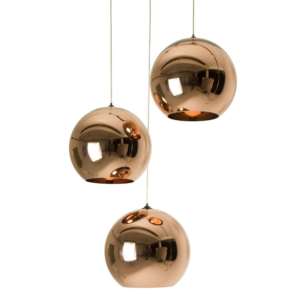 Modern Copper/Sliver/Gold Lamp Shade Glass Ball Mirror Pendant Lamp E27 Bulb LED Pendant Light For Dining Room Living Room