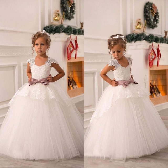 4bf09f5c84ddbb New Cute Ivory White Puffy Tulle Lace Ball Gown Baby Girl Birthday Party  Christmas Pageant Dresses