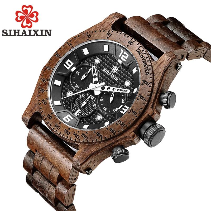 SIHAIXIN luksusa zīmola koka pulksteņu vīriešu hronogrāfs - Vīriešu pulksteņi