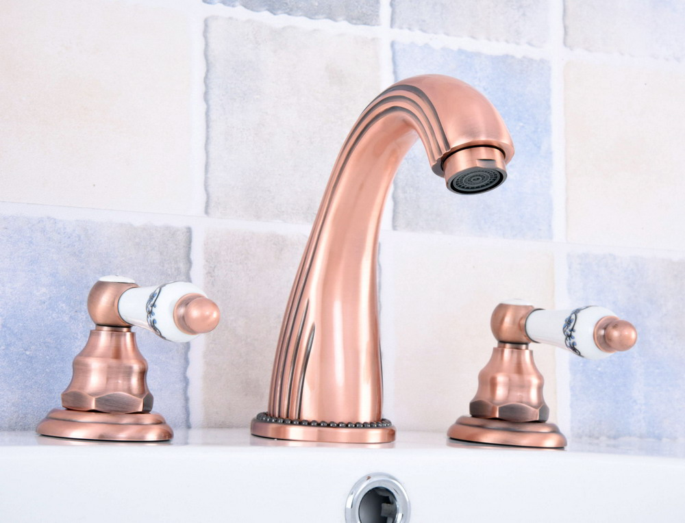 Antique Red Copper Brass Deck Mounted Widespread Bathroom Basin Faucet Sink 3 Holes Mixer Tap Dual Ceramic Handles Levers asf537Antique Red Copper Brass Deck Mounted Widespread Bathroom Basin Faucet Sink 3 Holes Mixer Tap Dual Ceramic Handles Levers asf537