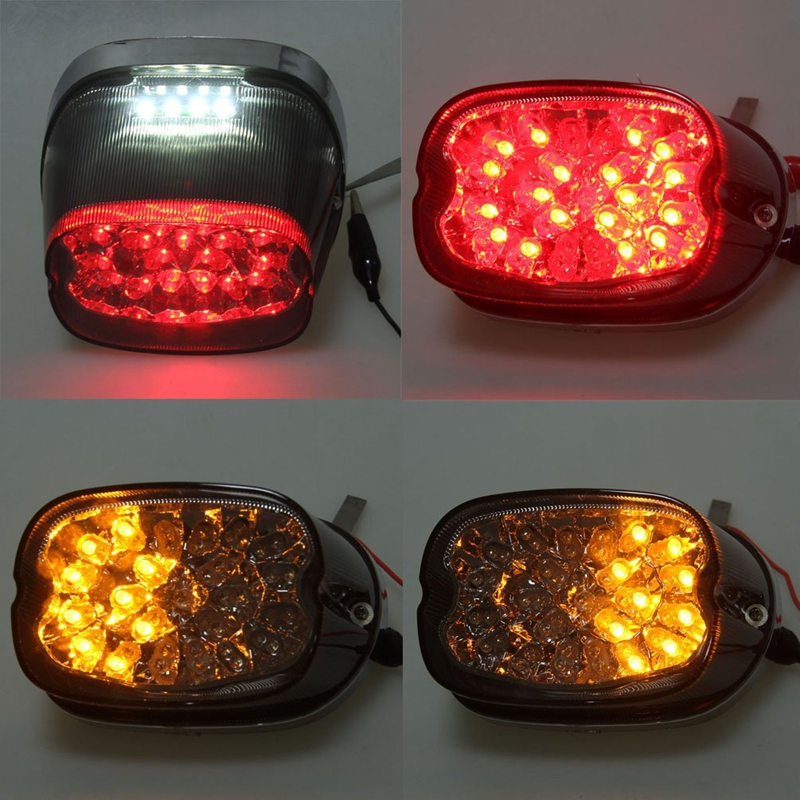 Smoked Lens Motorcycle LED Tail Light With white Turn Signals Indicator For 1996-2008 Harley Softail 1996-2007 Harley sportster