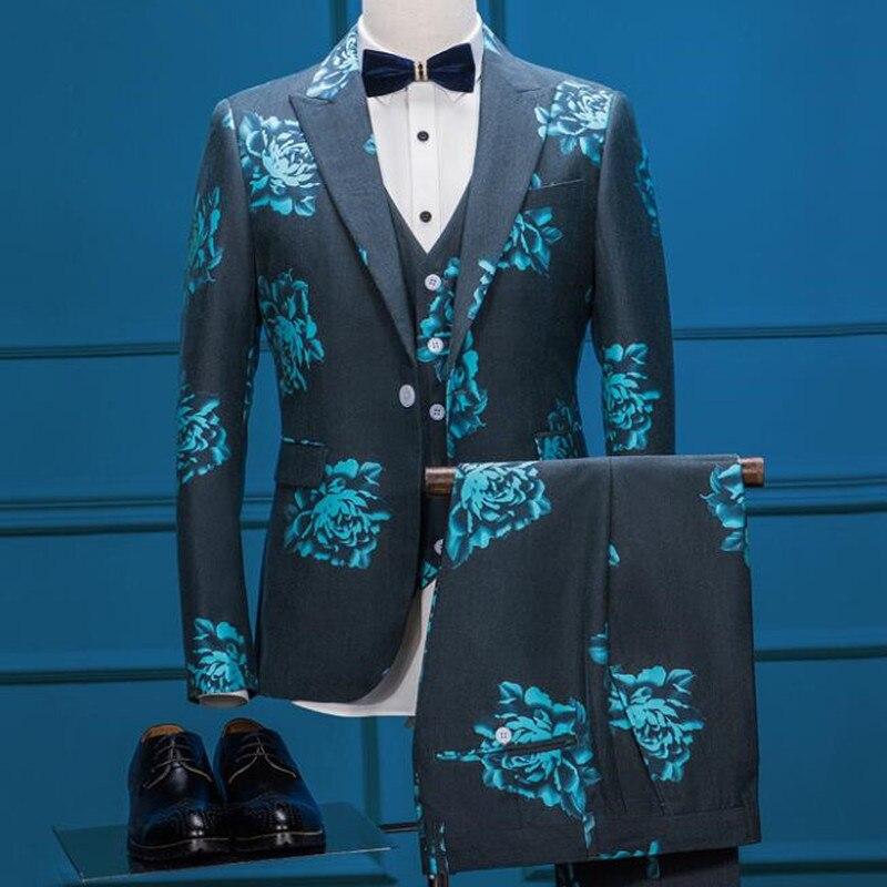 Brand Stylish Suits Men Slim Fit Floral Printed Blue Male Dress Suit Jacket Vest Pants Three Pieces Formal Wedding Prom Party