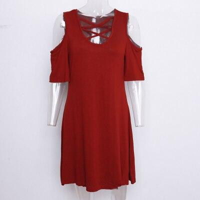 Solid Casual Dress Women...
