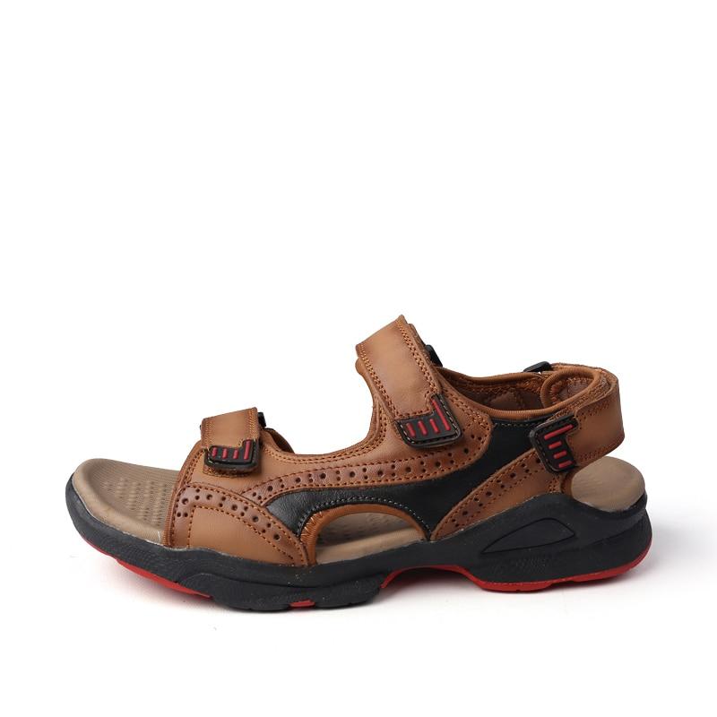 Air Taille En Ramialali Chaussures 45 Light Sport Mens Brown D'été Sandales dark De Plein Véritable Hommes Brown La Plage Cuir Plus Z1w47qxBE1