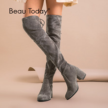 BeauToday Over The Knee Boots Women Kid Suede Leather Stretch Fabric High Heel Top Quality Lady Winter Long Boots Handmade 01011