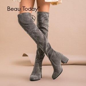 Image 1 - BeauToday sur le genou bottes femmes enfant daim cuir Stretch tissu haut talon qualité dame hiver bottes longues à la main 01011