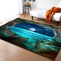 Creative style carpet Cosmic Earth starry sky 3D Print Flannel Rugs Antiskid soft 150* 200cm Large Area Carpets for Living Room