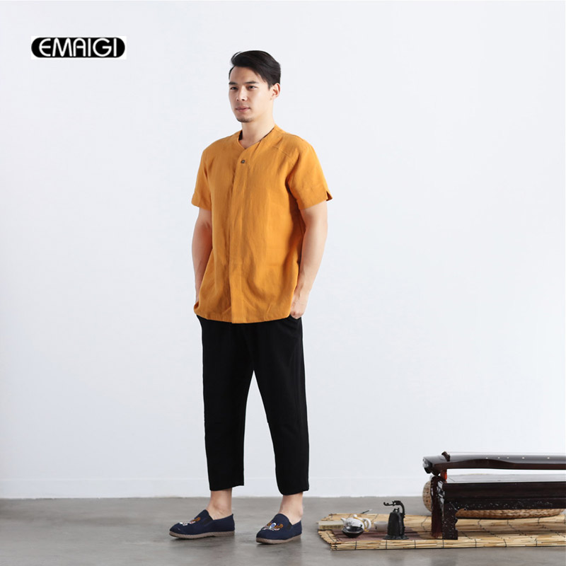 Top Quality Cotton Linen Men Casual Shirts Solid Color China Style Male Short Sleeve Shirts Collarless Cardigan