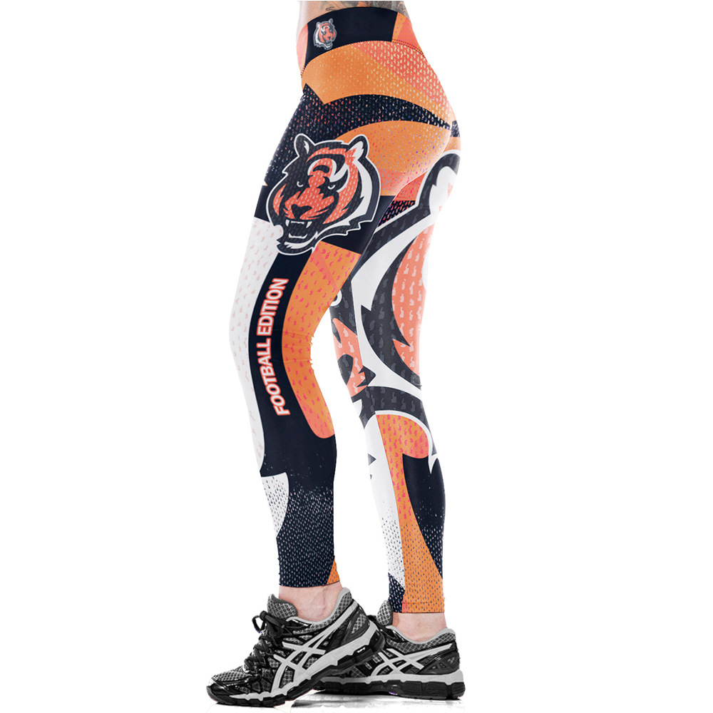 Pants Leggings Bengals Football-Team Training Sport Workout Fitness Gym Tight Exercise