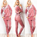 Hot 2016 Women Winter Suit Pink Velvet Suit Long Sleeve Hoodies Pants Casual Tracksuit Suits for Women