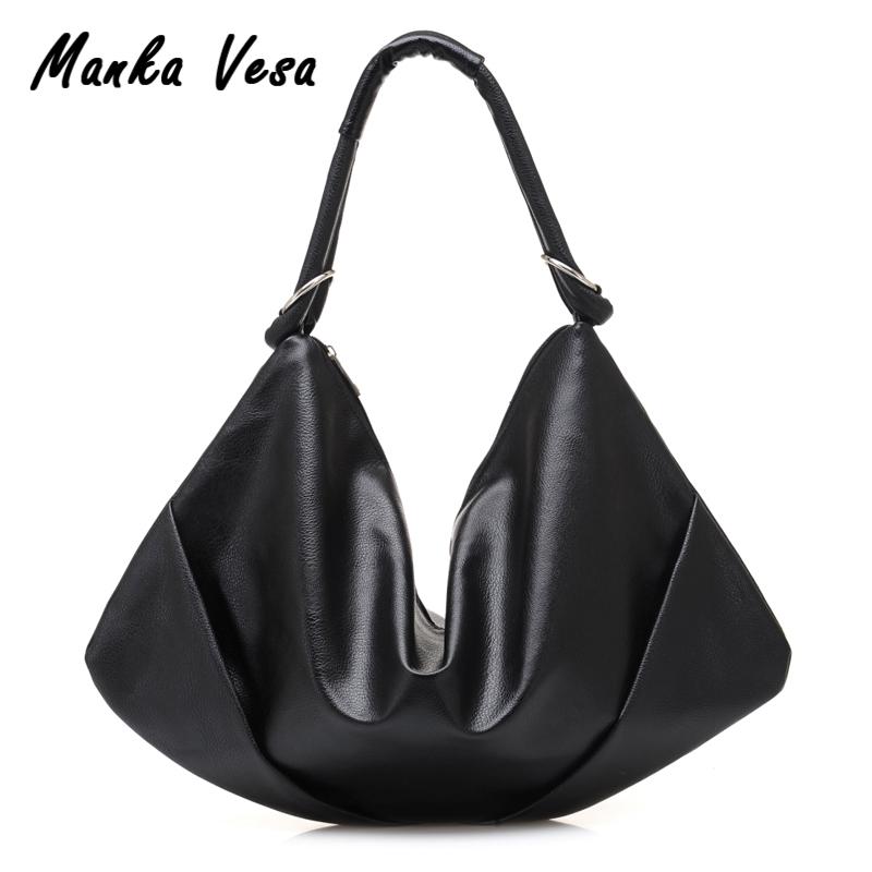 Prix pour Manka Vesa 2017 Femmes de Mode Noir Grand Sac D'épaule De Mode PU En Cuir de Femmes D'épaule Sacs Drop Shipping