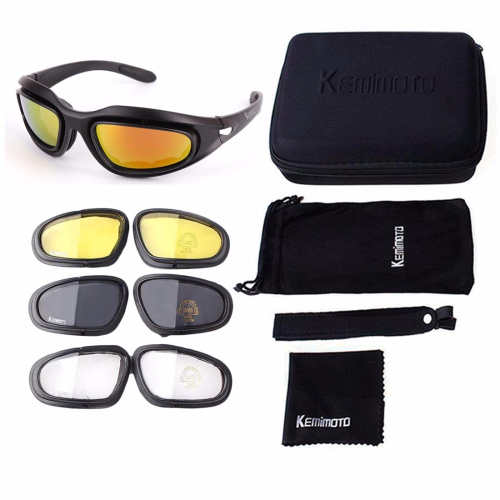 Kemimoto Motorcycle Goggles Glasses Riding Non-Polarized with 4-Lens-Kits Hunting Outdoors