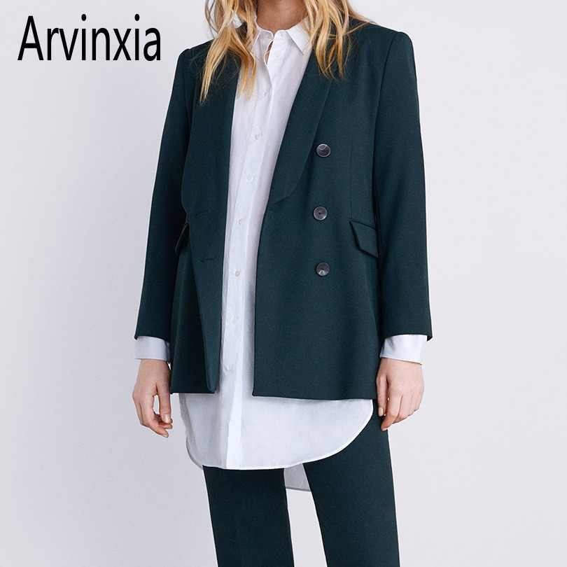 Arvinxia ZA New Solid Long Sleeves Women Blazers Fashion Double Breasted Ladies Coats Chic Loose Open Front Pockets Suit Jackets