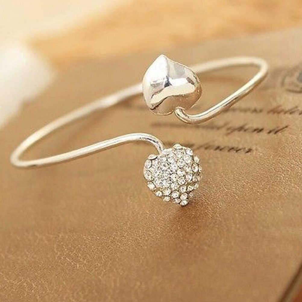 JETTINGBUY pulseras y brazaletes de brazalete ajorca de corazón de amor con diamantes de imitación, nueva pulsera de moda para mujer, joyería para chica y Dama