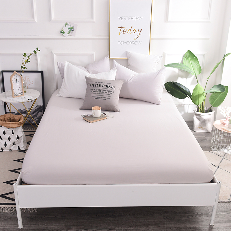 Bedding Outlet Mattress Cover Fitted Sheet Bedding Bed Sheet Bedding Simple Silver Solid Color Mattress Protector Cotton 4 Size