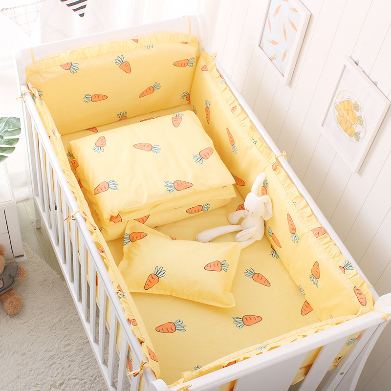 5 Pcs /set Nordic Style Baby Bedding Set 100% Cotton Newborns Crib Bedding Set Including Bumpers Bed Sheet Multi Colors & Sizes