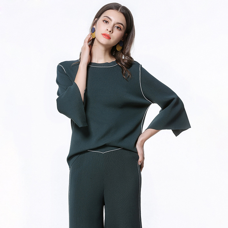 2018 Spring New Womens Fashion Casual Set Green knitting Sweater Pullover Tops and Elastic Waist Loose Pants Comfortable Sets