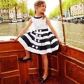 Black and white stripe dress children summer vest butterfly  dress spring style