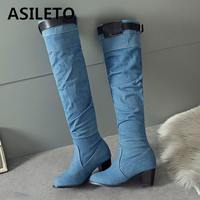 ASILETO 2018 Spring/Autumn New denim boots women knee high boots shoes woman western cowboy boots jean boots booties botte S767