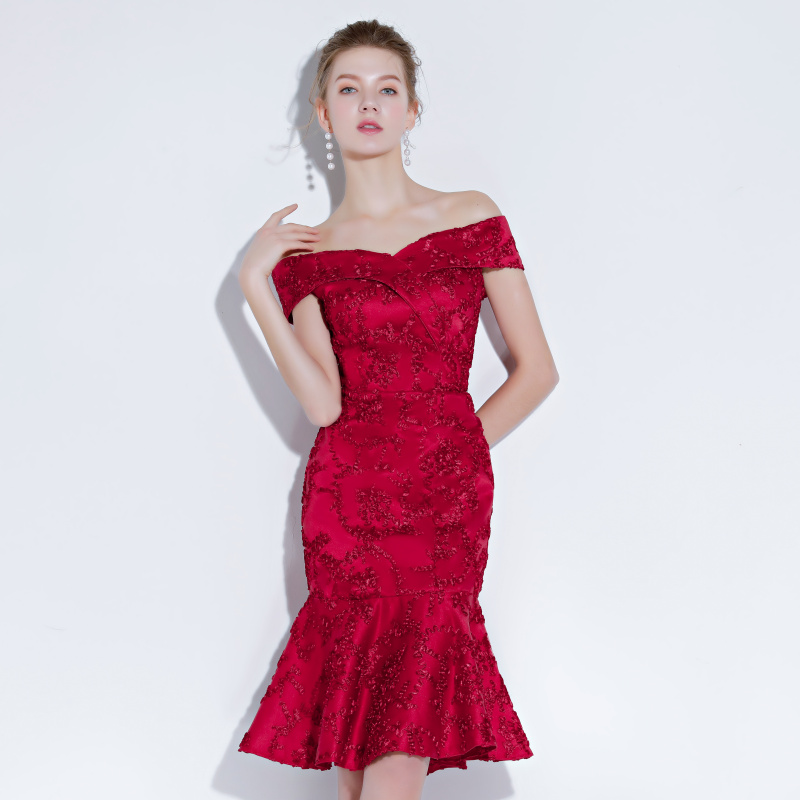 Shop Burgundy Homecoming Dress Short Mini Mermaid Off Shoulder Sweetheart Formal Party Gown online on sale. Homecoming, Short, Semi-Formal Party Dresses.