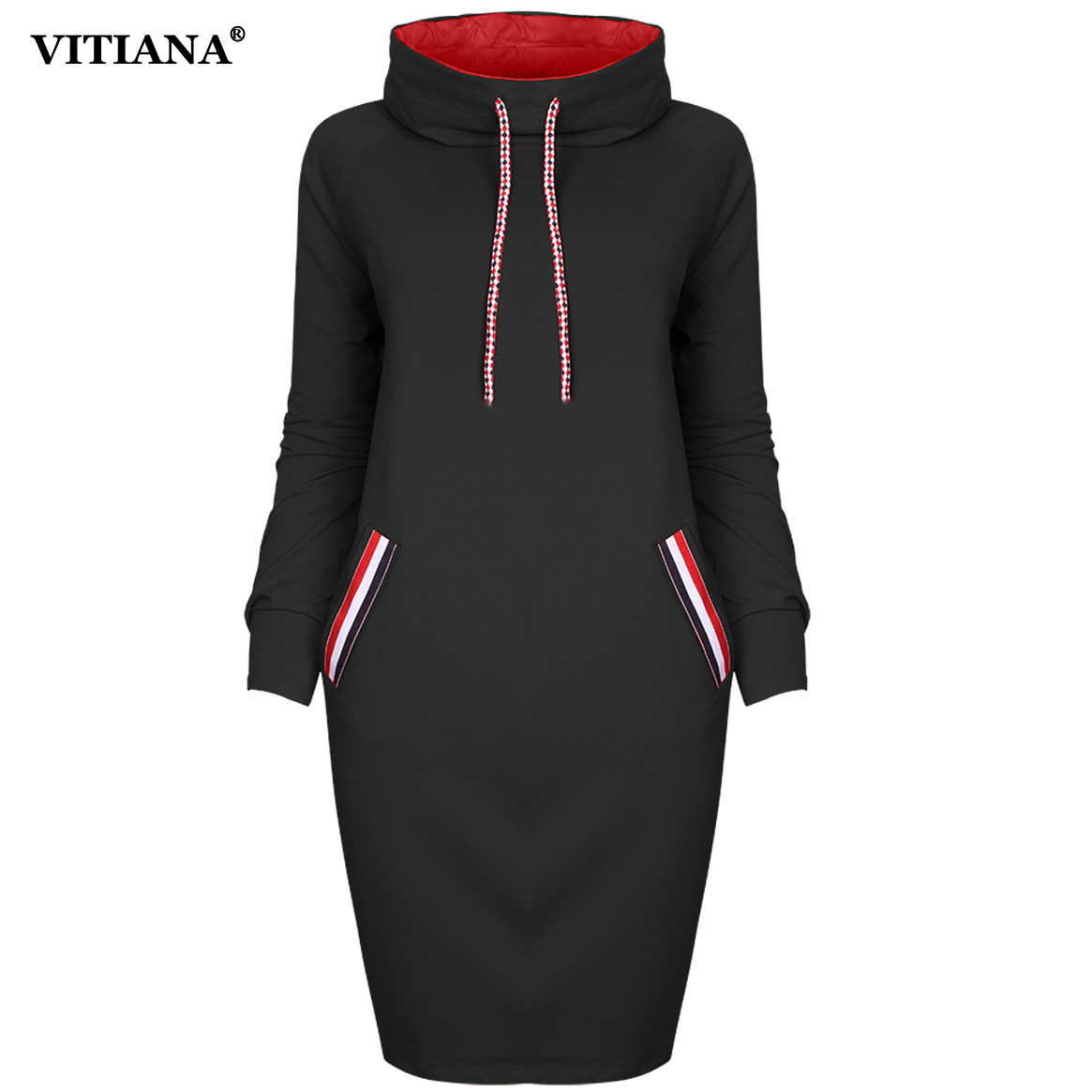 VITIANA Women Autumn Winter Long sleeve Dress Black Red Pullovers Winter Hoodie Dresses Female Elegant Knee length Thin Clothes