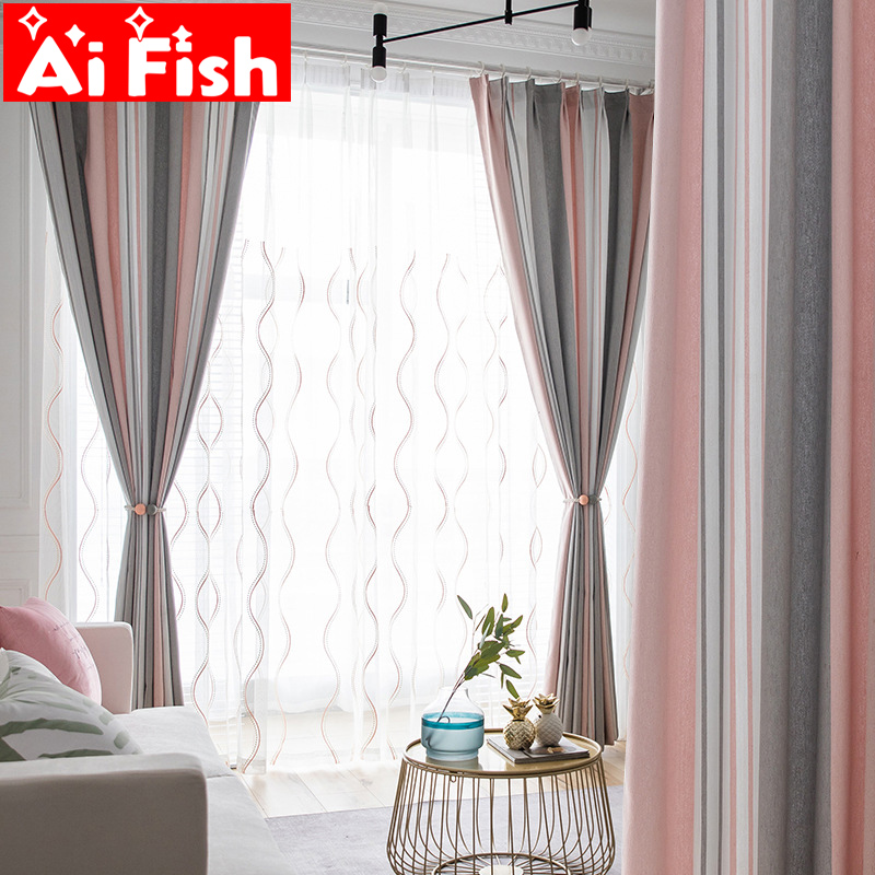 Modern Three Color Weave Striped Window Shade Curtain Minimalist Wave Sheer Tulle Screen Curtains For Living Room Drapes MY132-4