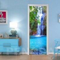 3D Step Door Sticker DIY Selfadhesive Waterfall Tree Decals Mural Waterproof Paper Poster For Print Art Picture Home Decoration|Door Stickers| |  -