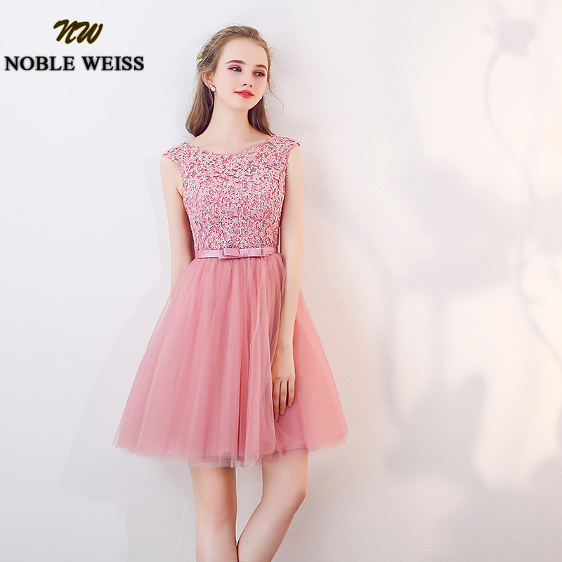 NOBLE WEISS Dust Pink Short Bridesmaid Dresses 2019 Knee Length Applique Lace Wedding Guest Dress New