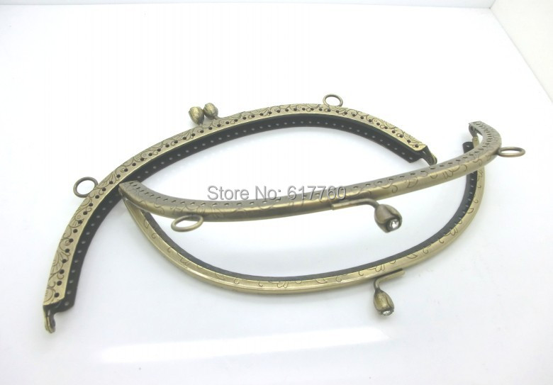 Metal Frame Kiss Clasp For Purse Bag Antique Bronze Clear Rhinestone Rose Flower Pattern 20.3cm x 9.2cm(8x3 5/8) J2609