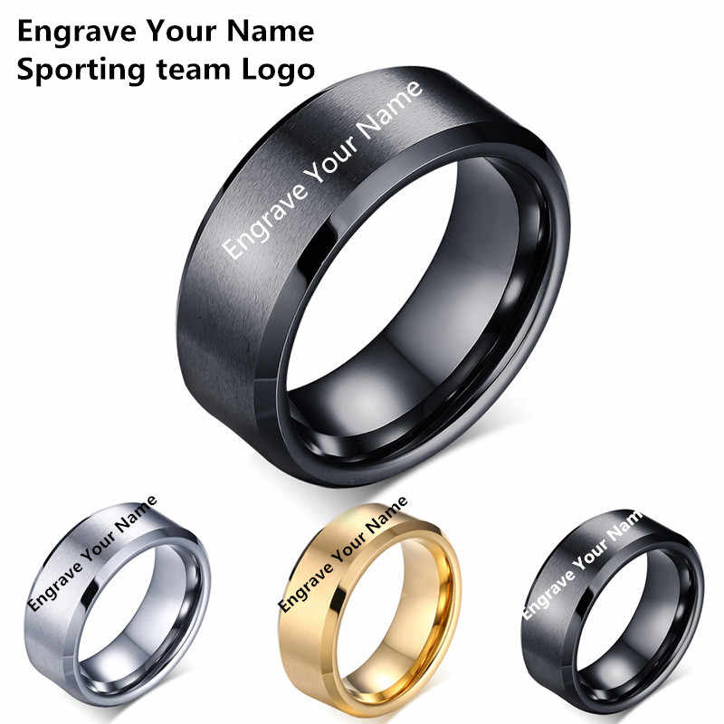 Drop Shipping Custom Name Sport Logos 8mm Black/ Silver/ Gold Blue Titanium Rings Personalize Jewelry for Men Women