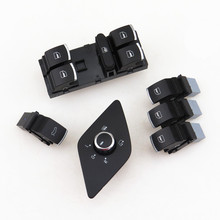 A STYLE Car Chrome Window RearView Mirror adjust Switch Trunk Tid Unlock Switch Button For VW