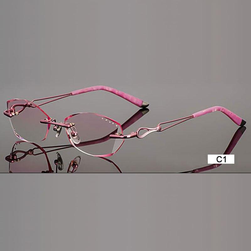 Fashion Eyeglasses A002 Diamond Trimming Cutting Rimless Eyeglasses Prescription Optical Glasses Frame for Women Eyewear