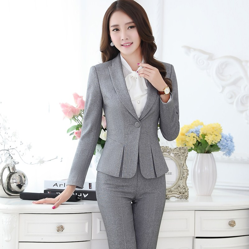 Perfect Pants Suit Office Style Blazer Pants Black Gray Women39s Business Suits