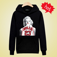 Marilyn Monroe Black / White Men's Long Sleeve Hoodie Men's Hip-Hop Sweatshirt and Fashion Hoodie Men's Brand Marilyn Monroe XXS