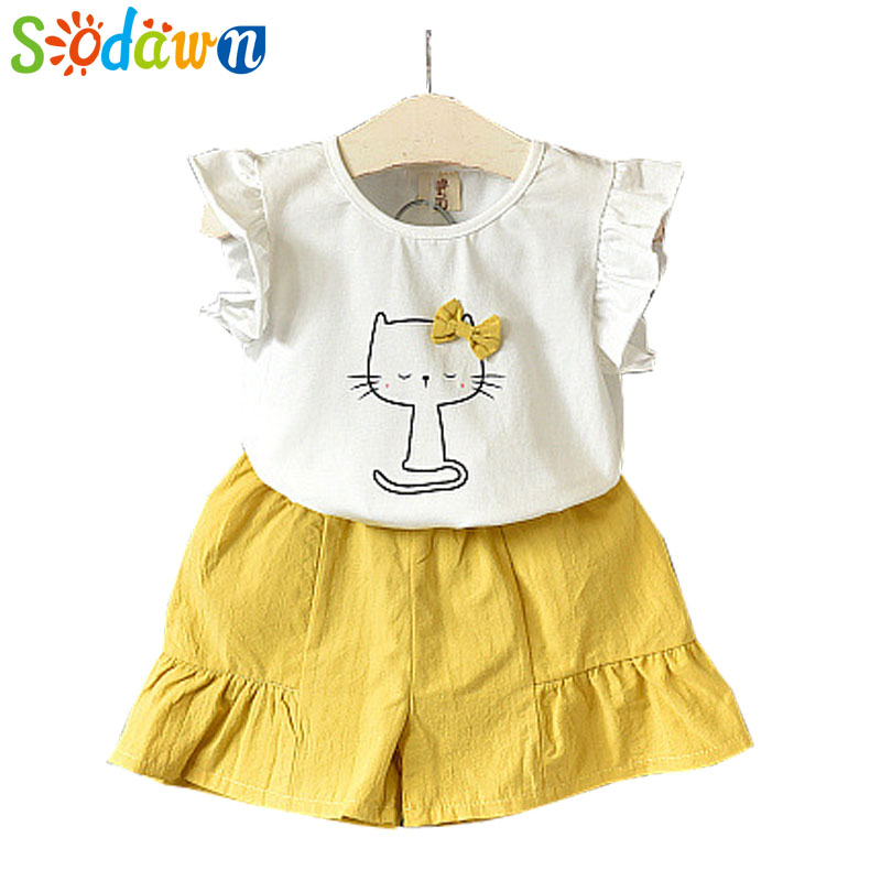 Sodawn 2018 Children Clothing Clothes Fashion Girls Clothes Summer New Cat Bow Short-Sleeved T-shirt +Solid Color Shorts Suit