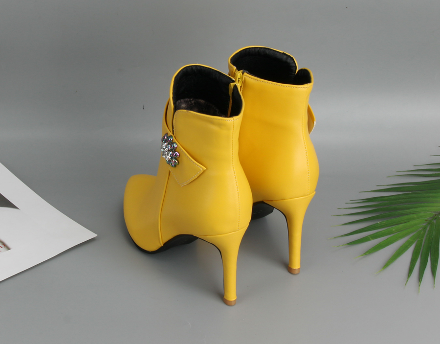d6a6300c3f Meotina Winter Ankle Boots Women Thin High Heel Boots Crystal Short Boots  Pointed Toe Ladies Sexy Shoes Yellow White Size 45 46