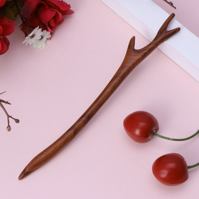 Ebony Hairpin Chinese Style Retro Hair Stick Antler Natural Wood Jewelry Vintage Exquisite Hair Accessories 4