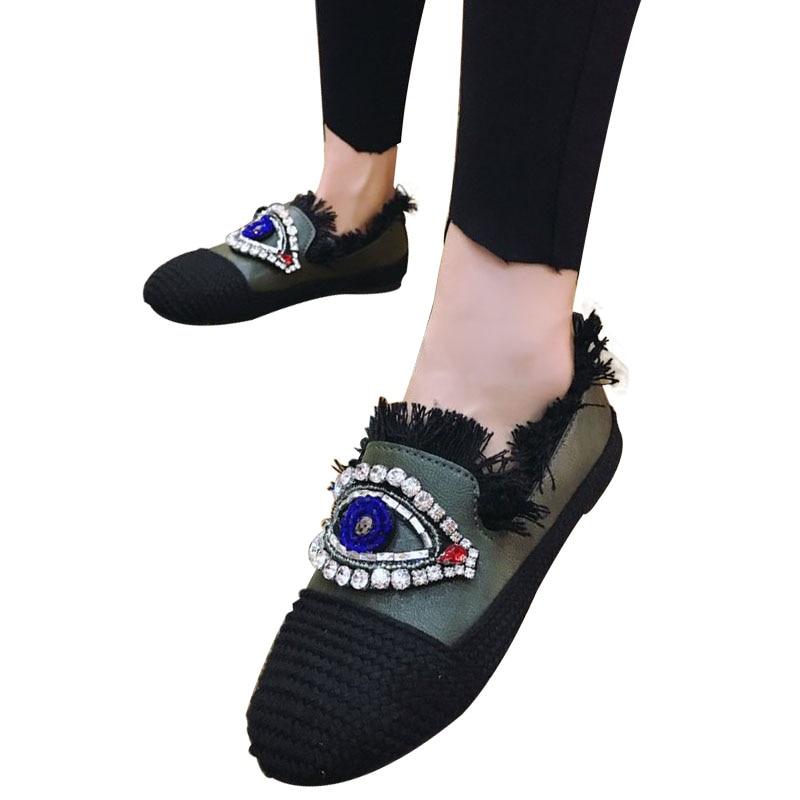 Plates Femmes Ballerines Slip Chaussures Automne Femme De Noir On 2017 Mocassins blanc Mode Occasionnels vert zzr1dwq