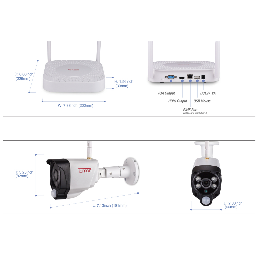 Tonton 1080P Wireless security camera 2TB HDD 2MP 4CH NVR camera IR CUT outdoor CCTV Cameras IP security video Surveillance Kits in Surveillance System from Security Protection