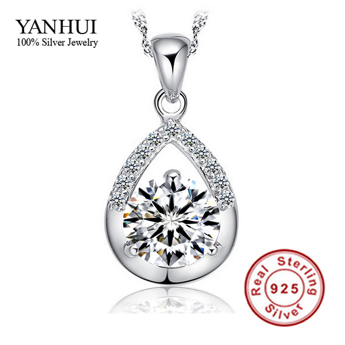 2016 New Listing Hearts & Arrows CZ Diamant Pendant Necklace Solid Silver Chain Necklaces Women Crystal Pendant Necklaces BKN045 chain