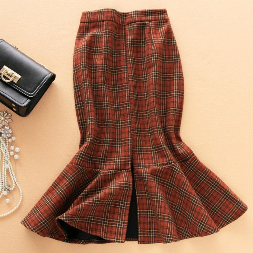 Ol red Slim 4xl Womens Winter High Trumpet Mermaid Woolen Gray Waisted Skirt khaki New Plaid Size Plus Skirts nFvqTqz